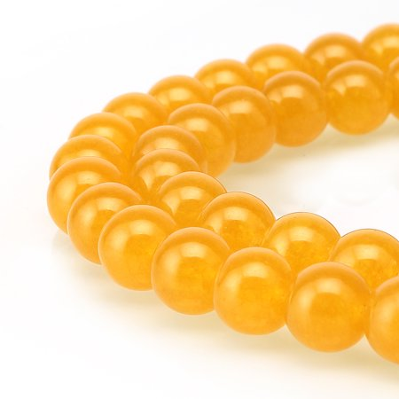 BRCbeads Jade Gemstone Natural Round 8mm Beads for Jewelry Making Yellow Jade Beads