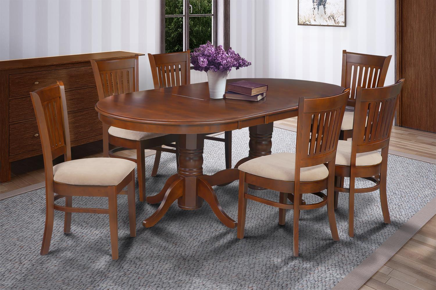 7 Piece Dining Room Set Table With A Butterfly Leaf And 6 Dining Chairs-Finish:Espresso,Shape:Oval by M&D Furniture