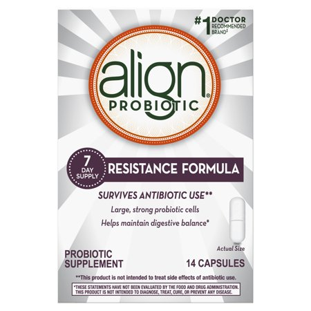Align Resistance Formula Probiotic Supplement, Survives Antibiotic Use, 14 capsules, Saccharomyces boulardi CNCM1-1079, #1 Doctor Recommended