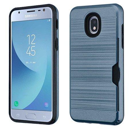 - Phone Case For Samsung Galaxy J3 2018, J337, J3 V 3rd Gen, J3 Star, J3 Achieve, Express Prime 3 - Phone Case Shockproof Hybrid Rubber Rugged Case Cover Brushed with Card Slot Ink Blue