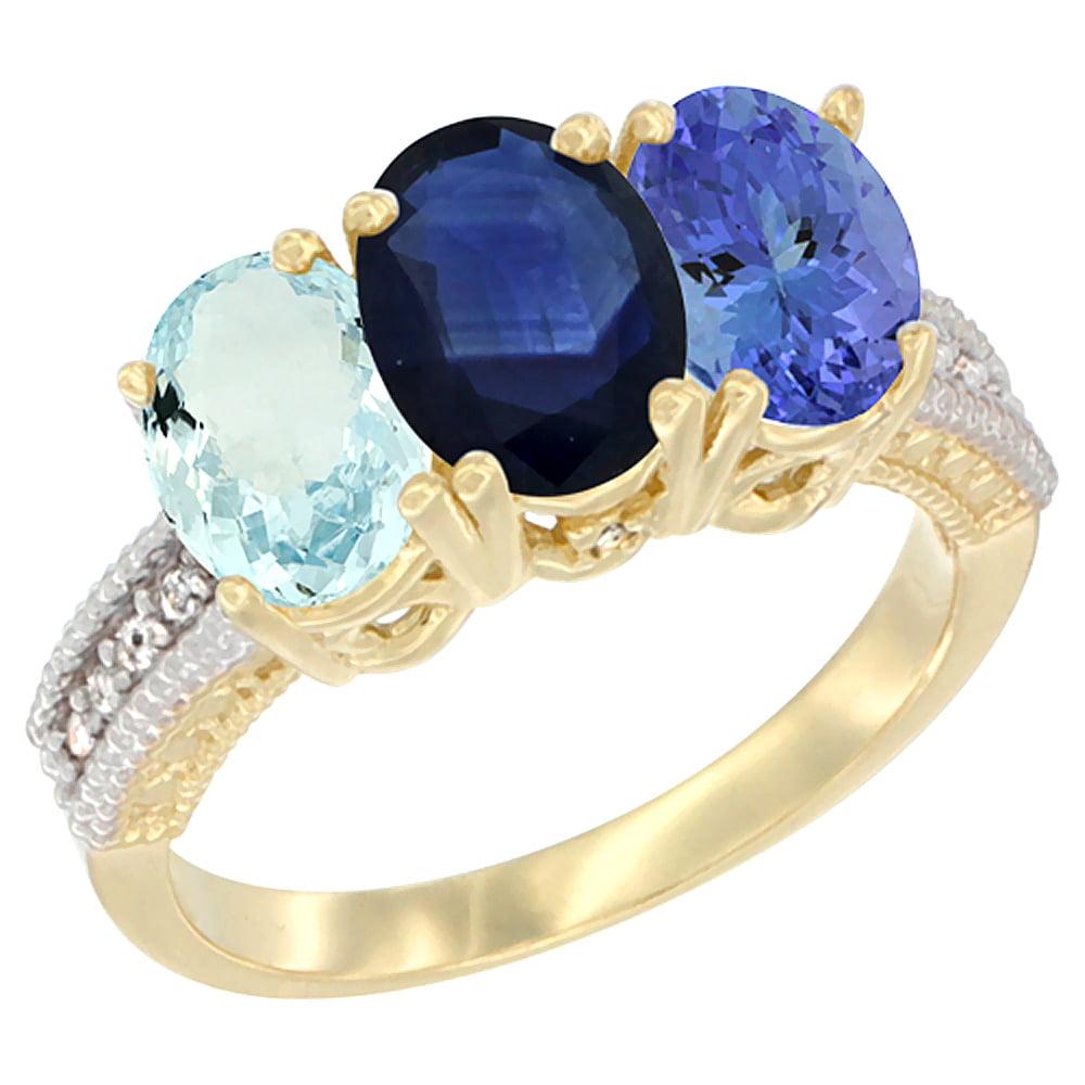 10K Yellow Gold Natural Aquamarine, Blue Sapphire & Tanzanite Ring 3-Stone Oval 7x5 mm, sizes 5 10 by WorldJewels