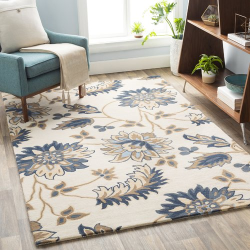Charlton Home Defelice Floral Hand Tufted Wool Beige/Blue ...