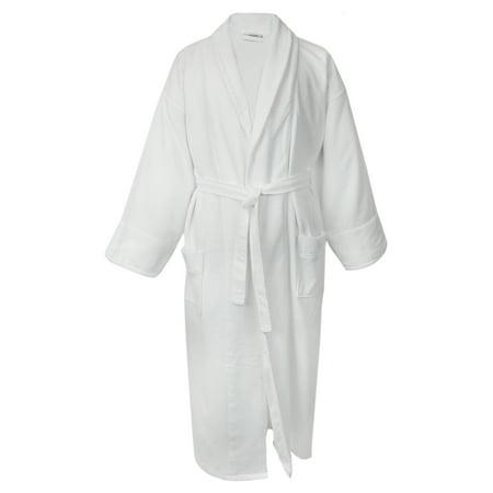 100% Turkish Cotton Men Waffle Robe with Velour Shawl (White, One Size) (White Waffle Robe)