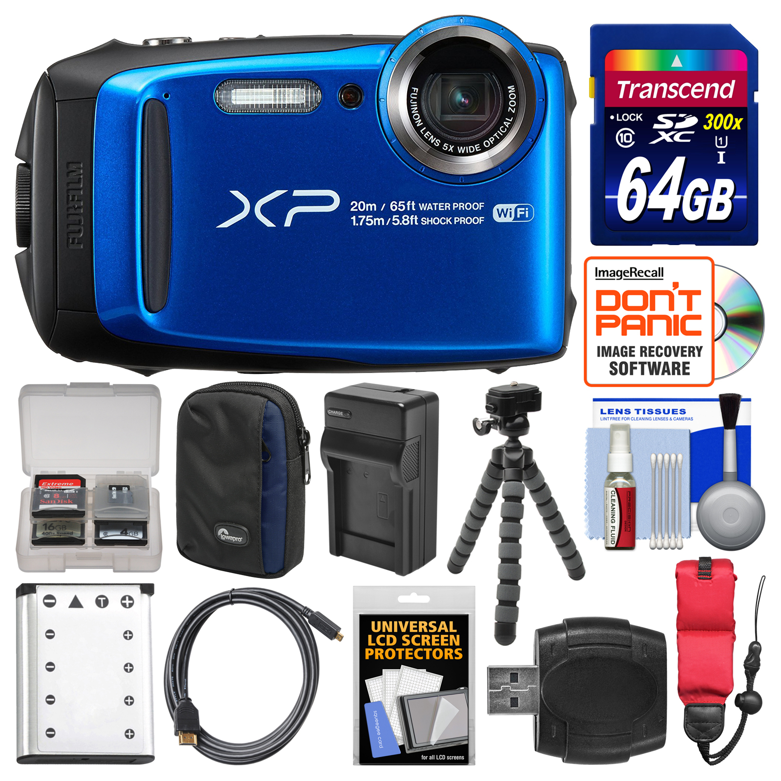 FujiFilm FinePix XP120 Shock & Waterproof Wi-Fi Digital Camera (Blue) with 64GB Card + Case + Battery + Charger + Tripod... by Fujifilm