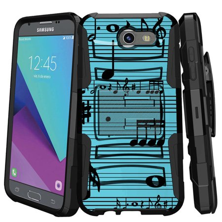 Samsung Galaxy J3 Emerge Case   J3 2017 Case   J3 Pro Case   Clip Armor   Dual Layer Case Rugged Exterior With Built In Kickstand   Holster   Musical Blues
