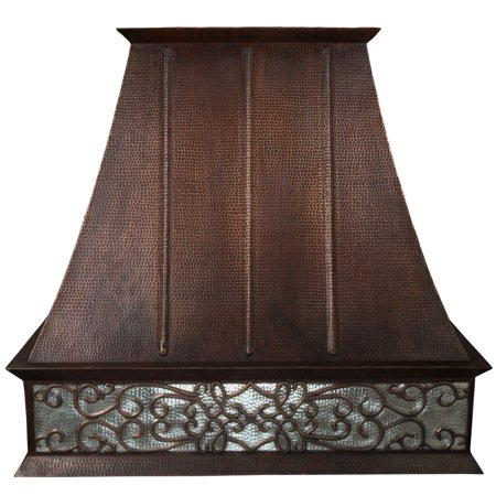 Premier Copper ProductsHV-EURO38S-NB-C2036BP1-TW-B 38 Inch 1065 CFM Hand Hammered Copper Wall Mounted Euro Range Hood with Nickel Background Scroll Design and Baffle
