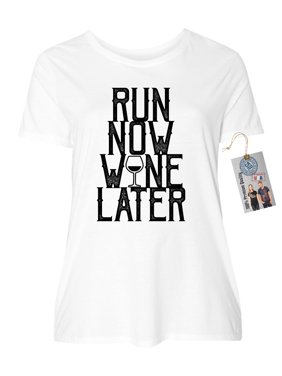 e91579787 ... Custom Apparel R Us. Product Image Run Now Wine Later Funny Plus Size  Womens Crewneck Shirt