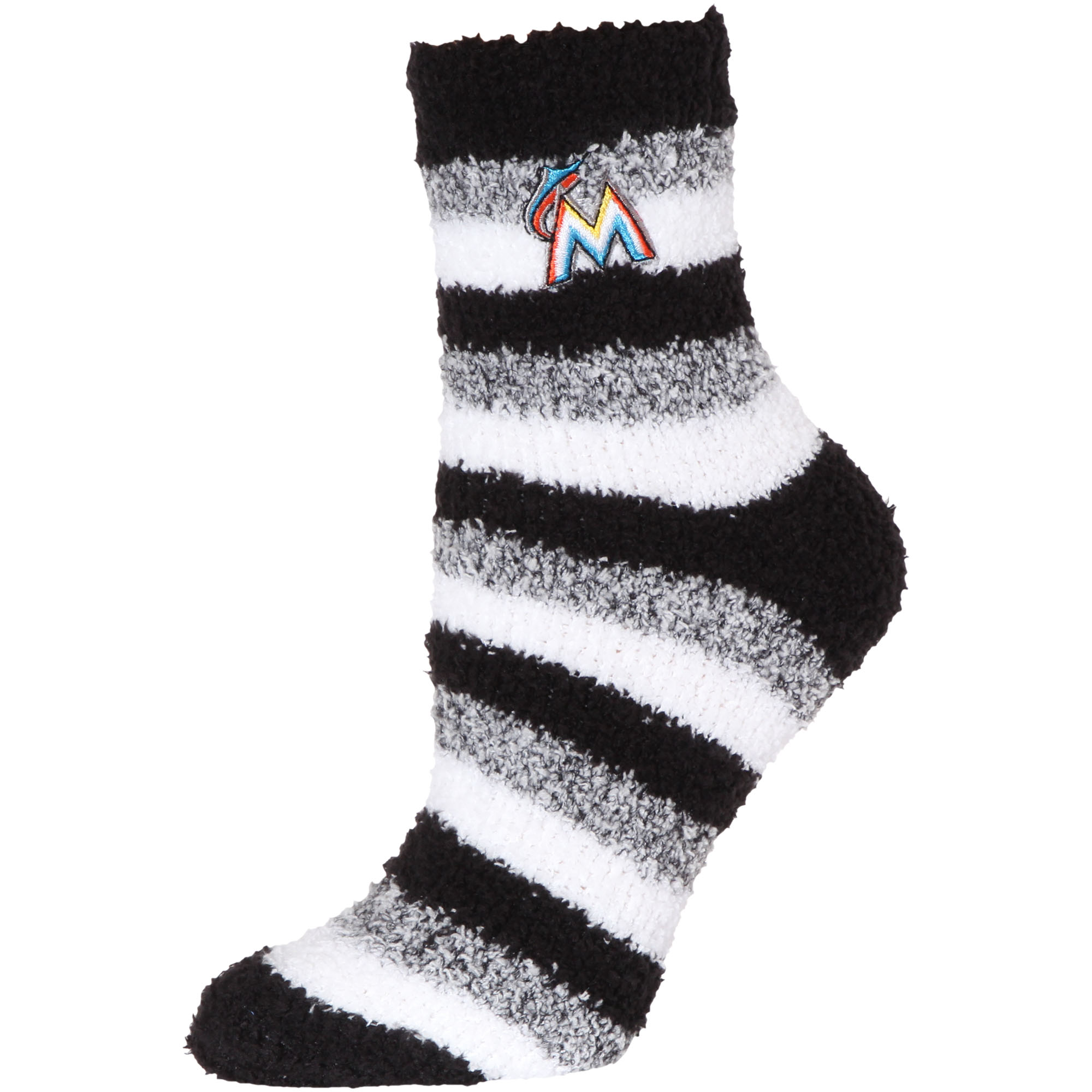 Miami Marlins Women's Fuzzy Steps Quarter-Length Socks - M