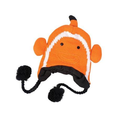 Orange White Clown Fish Nemo Sea Life Ocean Hat Knit Winter Cap Toque Beanie Hat