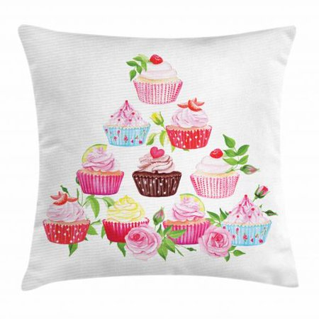 Dessert Throw Pillow Cushion Cover, Pyramid of Cupcakes with Polka Dot Liners and Bloomed Pink Roses Fresh Pastries, Decorative Square Accent Pillow Case, 16 X 16 Inches, Multicolor, by (Accent Liner)