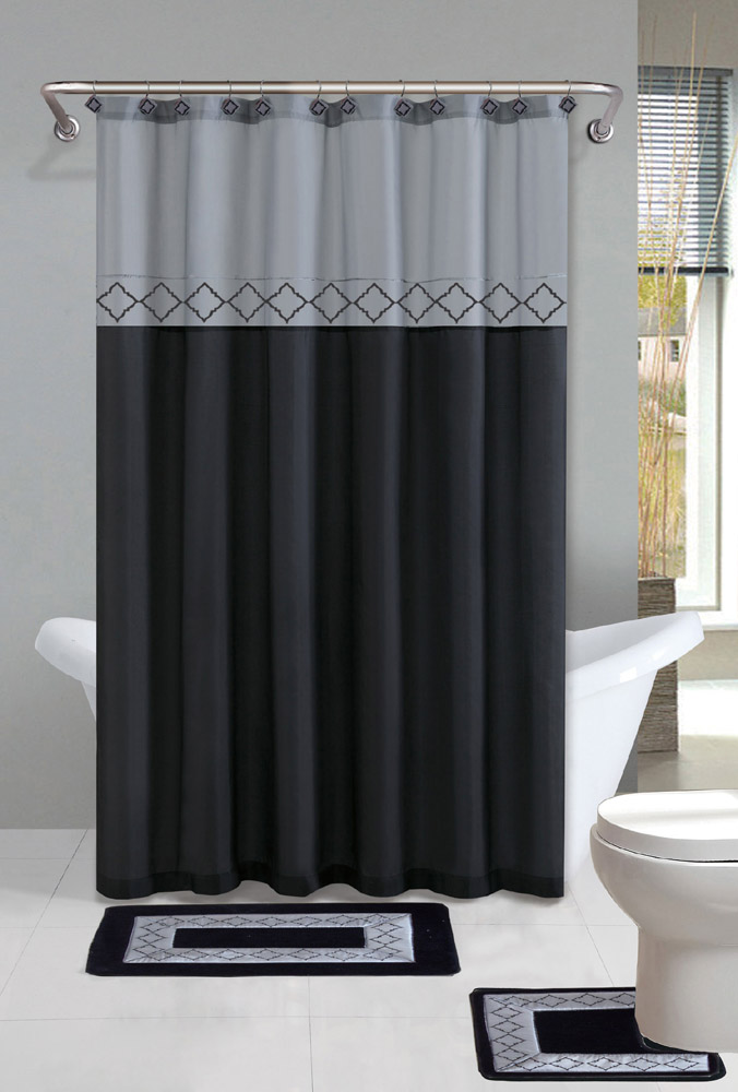 Home Dynamix Designer Bath Shower Curtain And Bath Rug Set: DB15D 456  Diamond Gray