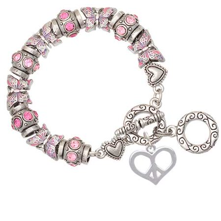 Heart Peace Sign Pink Butterfly Bead Charm Bracelet