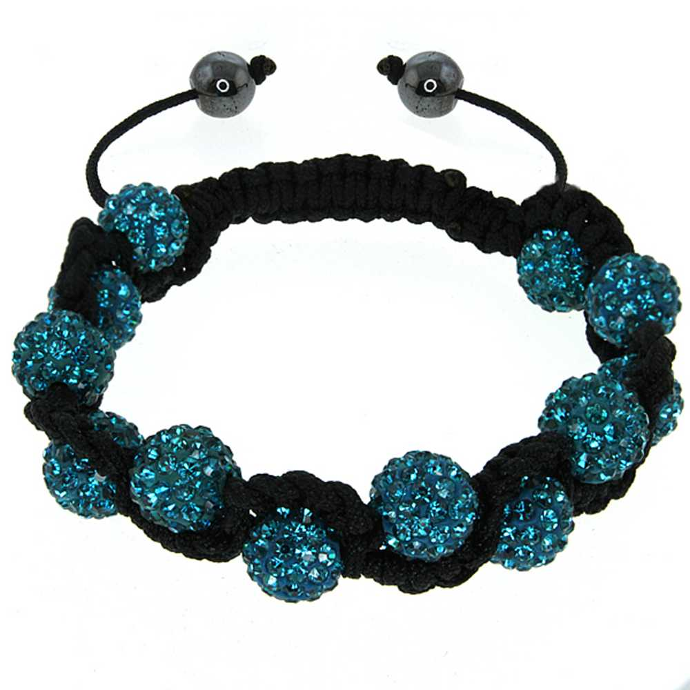 "Stunning Iced Out 10MM Blue Beaded 7.5"" to 11"" Adjustable Bracelet"