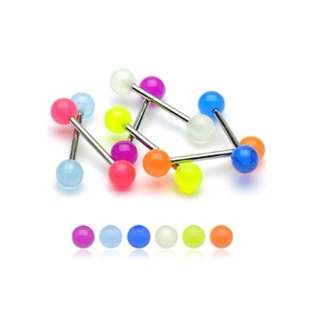 BodyJ4You Tongue Ring Lot of 6 Pieces Glow in the Dark Stainless Steel Barbell