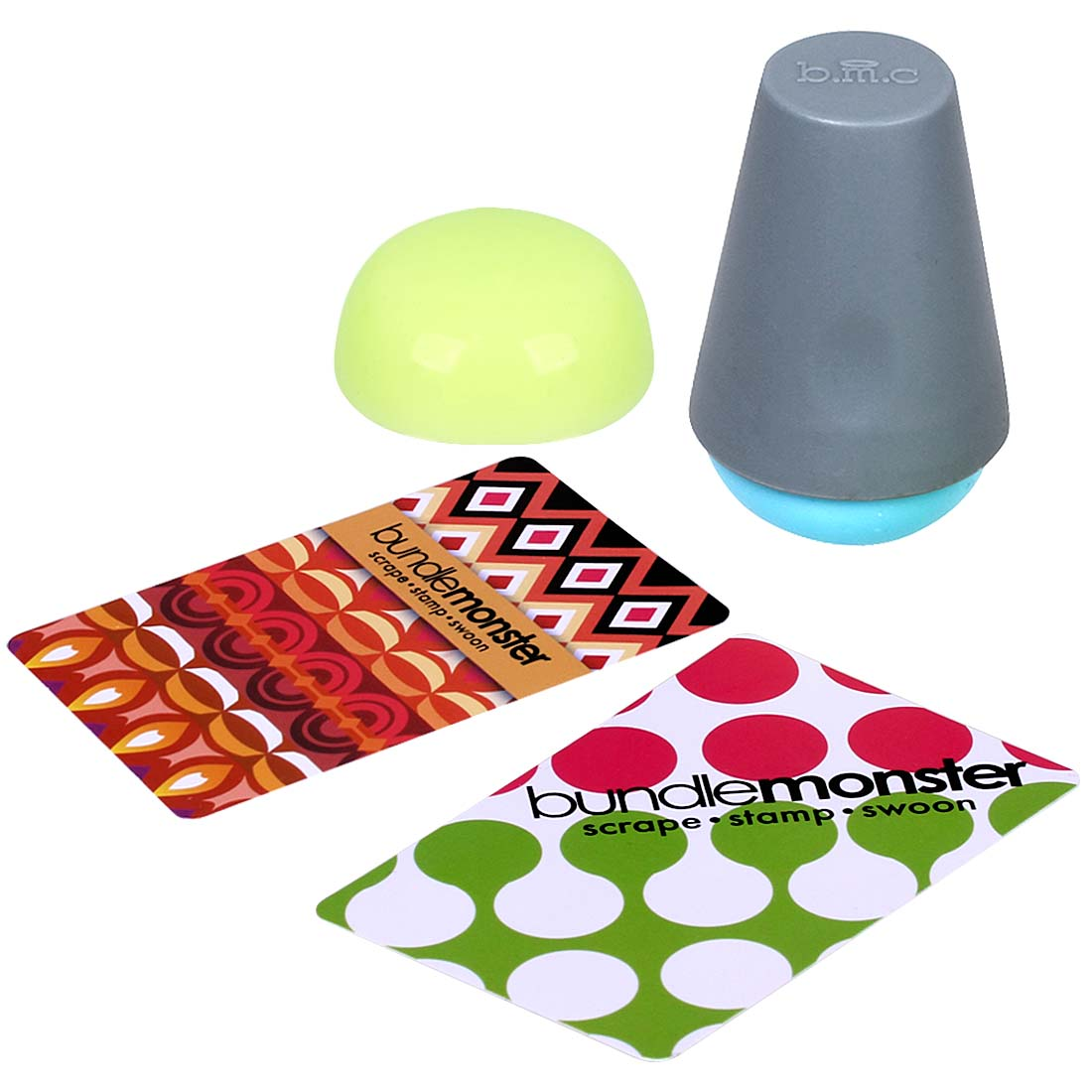Maniology (formerly bmc) 4pc Domed Shaped Squishy Silicone Nail Art Mega Stamper w/ Scraper Cards