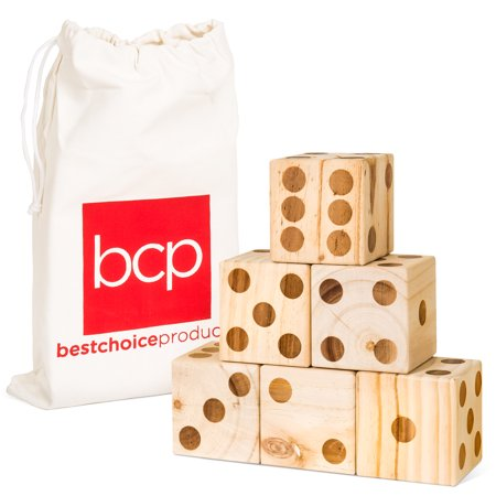 Best Choice Products 3.5-Inch Pack of 6 Wooden Dice Game with Canvas Carrying Bag,