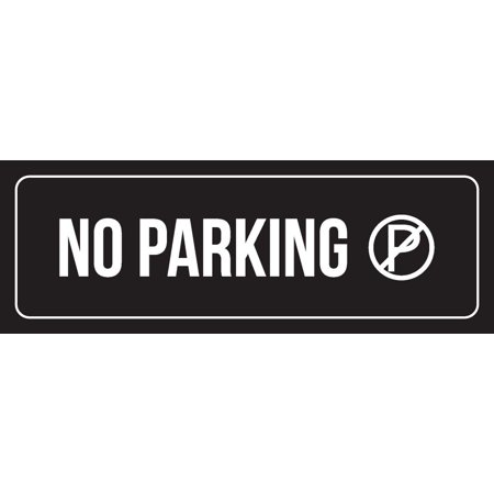 Black Background With White Font No Parking Office Outdoor & Indoor Office Metal Wall Sign, 3x9