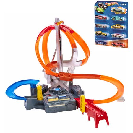 for sale online hot wheels spin storm trackset with free hot wheels 9 pack for christmas gifts. Black Bedroom Furniture Sets. Home Design Ideas