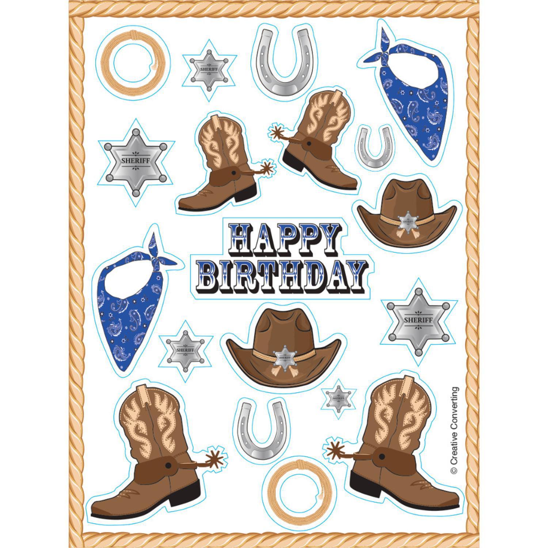 "Club Pack of 48 Blue Bandana Cowboy Value Sticker Sheets 6"""