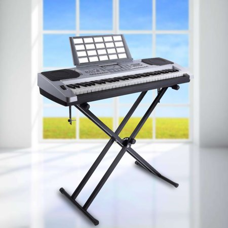 Keyboard Holder,YMIKO Portable X-Style Keyboard Stand Double Braced Music Electric Organ Holder Adjustable Height, Double Keyboard Stand (Keyboard Stand With Music Holder)