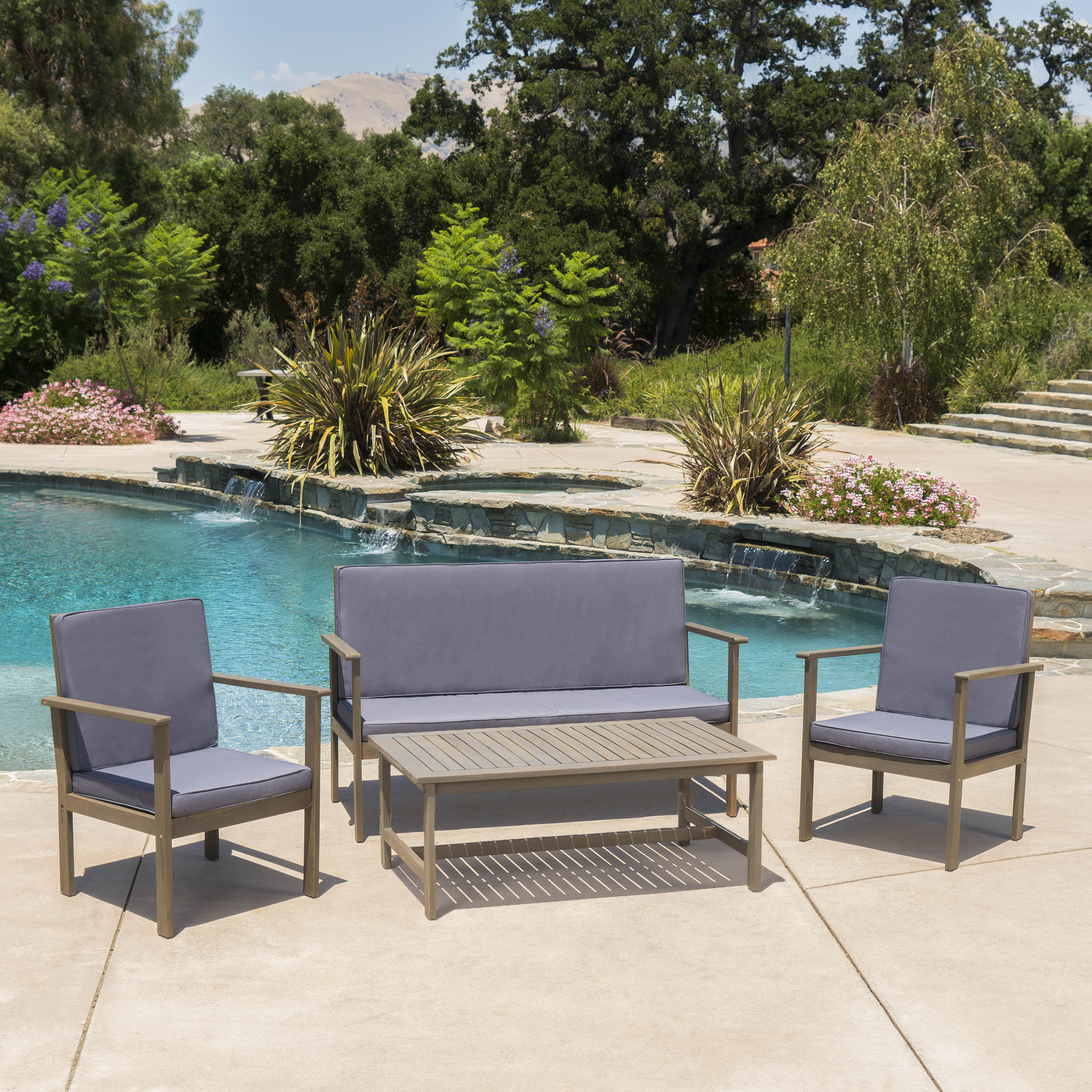 Cascada Outdoor 4 Piece Acacia Wood Chat Set with Cushions and Rectangle Coffee Table, Grey, Dark Grey