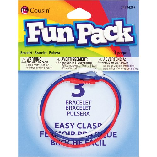 "Cousin Fun Pack Easy Clasp Rubber Bracelets, 7"", 3pk"