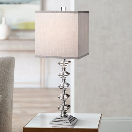 Stacked Crystal Table Lamp - Vienna Full Spectrum Modern Table Lamp Art Deco Chrome Stacked Diamond Shaped Crystal Gray Square Shade for Living Room Family