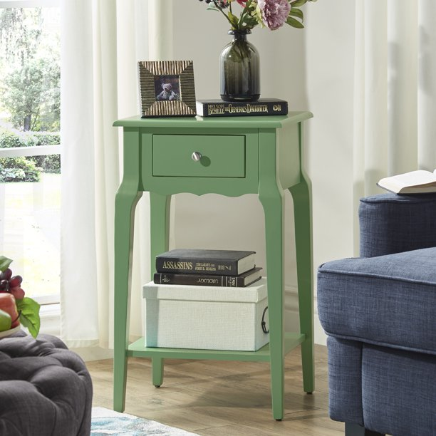 "Weston Home Catalpa 28"" High Wood End Table with Drawer and Shelf"