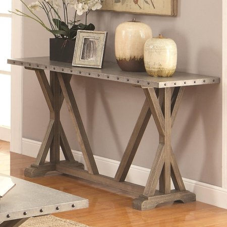 Awesome Benzara Industrial Style Rustic Sofa Table With Nail Head Trims Wooden Base Brown Walmart Com Squirreltailoven Fun Painted Chair Ideas Images Squirreltailovenorg