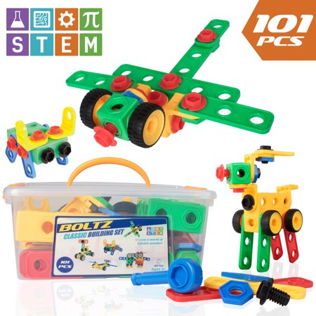 USA Toyz STEM Toys Building Blocks – 101pk BOLTZ Educational Toys for Construction or Engineering, Magnetic STEM Set for Boys, Girls, Toddlers or Kids](Girl Engineering Toys)