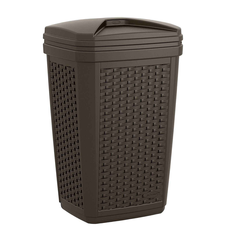 Suncast Pool Patio Resin Wicker Trash Hideaway, 30 Gallon, Outdoor Furniture