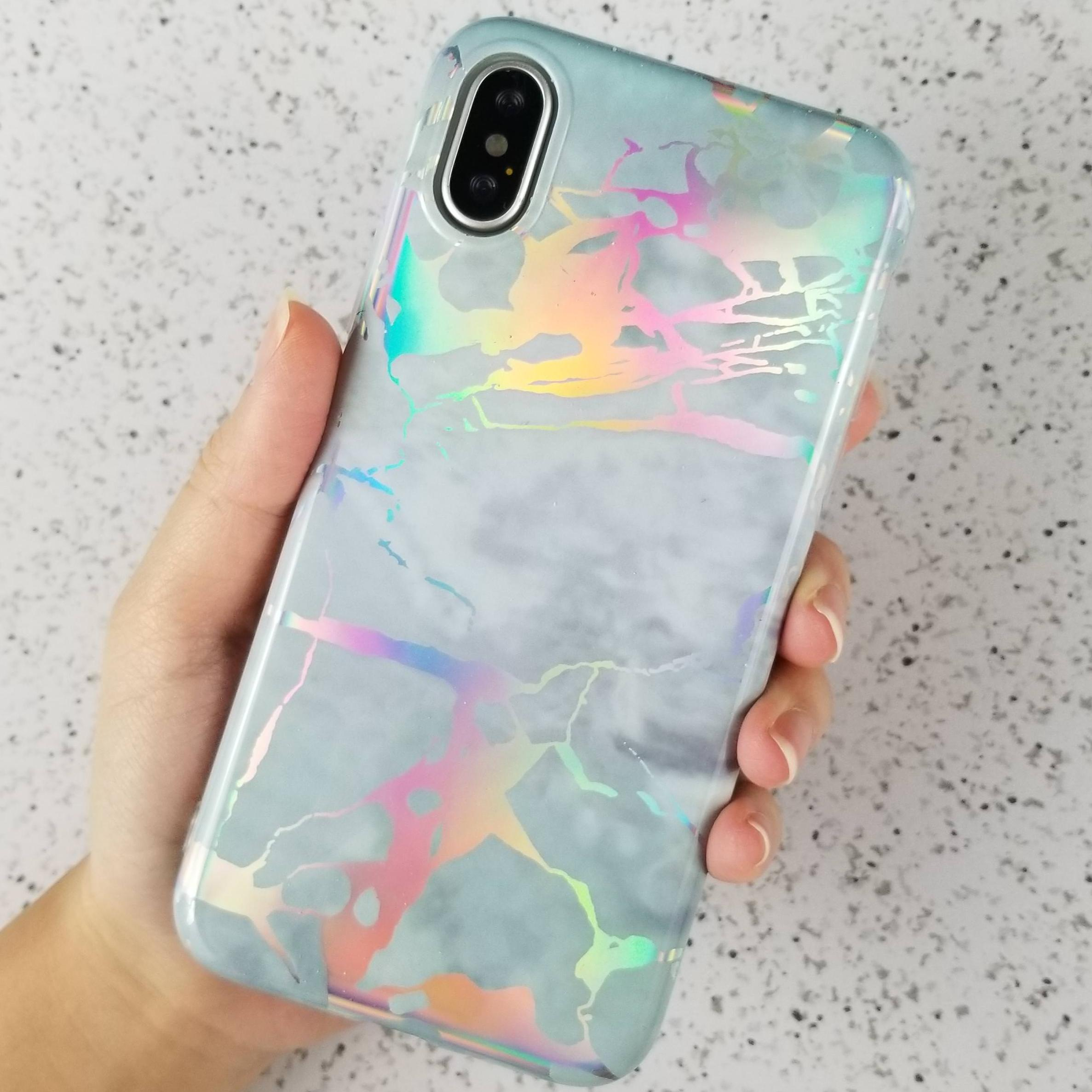 For iPhone X Glossy Laser Holographic Marble Soft TPU Case Cover
