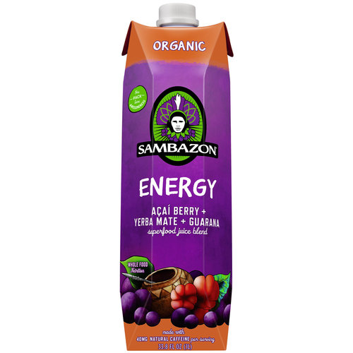 Sambazon Energy Superfood Juice Blend Acai Berry + Yerba Mate + Guarana, 33.8 FL OZ