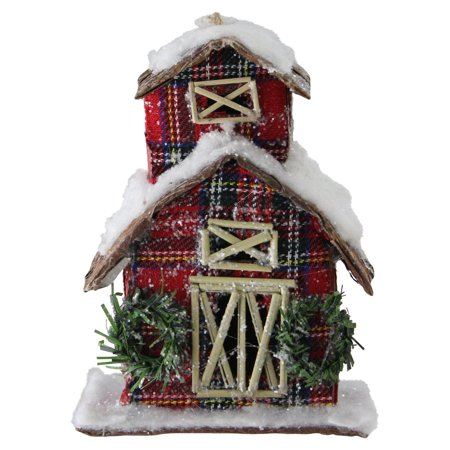 Northlight Holiday Moments Classic Red Plaid Glitter Snow Covered Barn Christmas Ornament