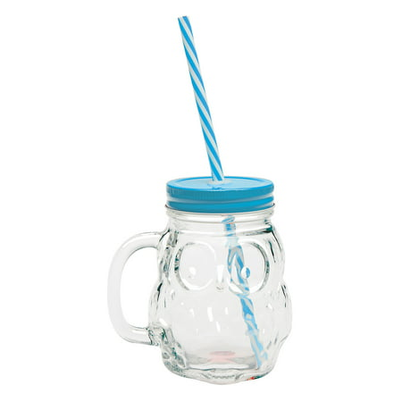 Owl Mason Jar Mugs  - 16 Ounce Glass Cups with Handles, Lids and Straws - Set of 4