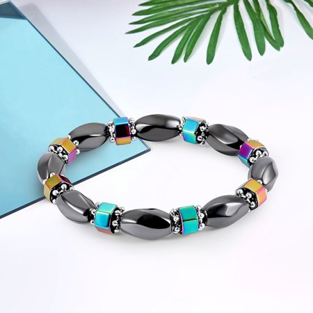 Magnetic Hematite Stones (1 PCS Weight Loss Healthcare Round Black Stone Magnetic Therapy Hand Chain Body Care Hematite Stretch Bracelet Magnet Jewelry For Men Women)