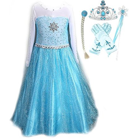 Snow Queen Elsa Princess Party Dress Costume with Accessories (5-6, Style 2) (Disney Princess Snow White Costume)