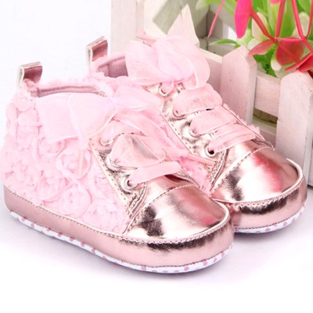 Kacakid Spring 0-12M Baby Infant Girl Soft Sole Crib Shoes Sneakers Lace Bow Prewalker