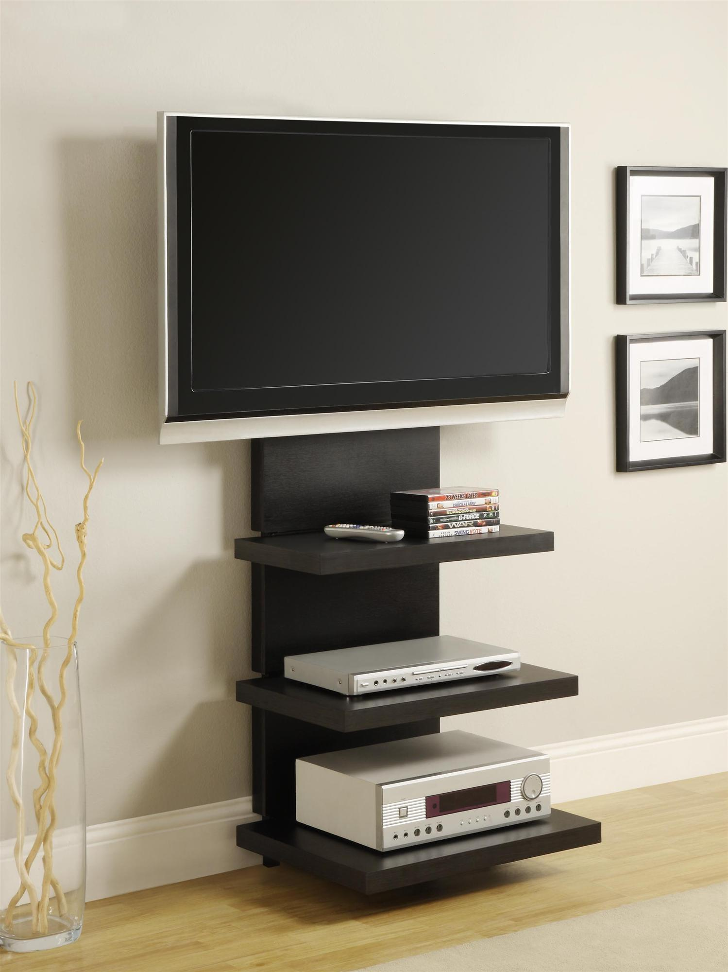 Wall Mount TV Stand with 3 Shelves, Black, for TVs up to 60