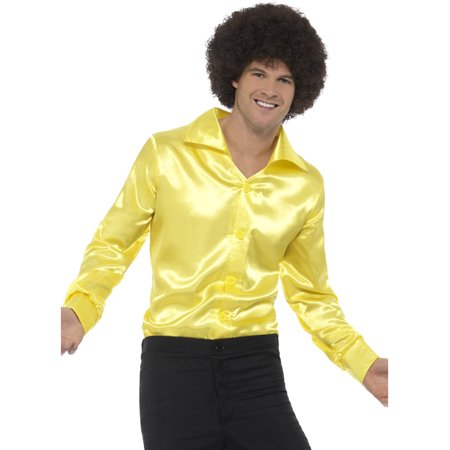 Mens 60s 70s Groovy Dude Yellow Disco Shirt Costume - 70s Clothes Men