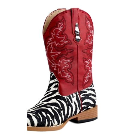 4a8ff41afc8 Roper Western Boots Girls Zebra Bling Glitter Red 09-018-1901-0052 RE