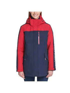 Tommy Hilfiger Womens Winter Cold Weather Basic Coat - Crimson/Navy Small