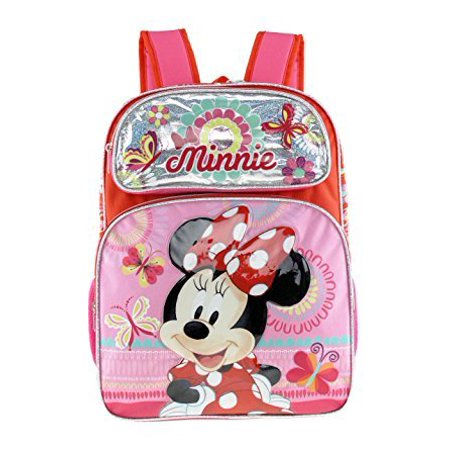 Backpack - Disney - Minnie Mouse - Red/Silver Flower+Butterfly New 135591-2 - image 1 of 1