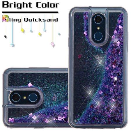 LG Q7, Q7+, Q7 Plus - Phone Case BLING Hybrid Liquid Glitter Quicksand Rubber Silicone Gel TPU Protector Hard Cover - Purple Glittering Phone Case for LG Q7, Q7+, Q7 Plus Purple Silicone Rubber