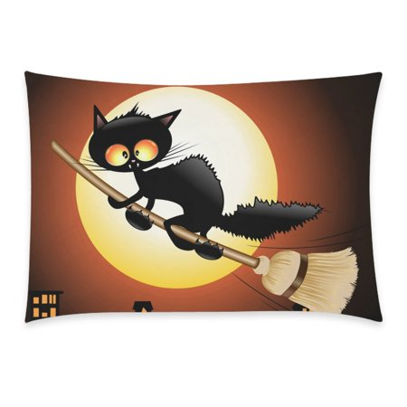 ZKGK Happy Halloween Cute Black Cat Lovely Moon Cartoon Home Decor Pillowcase 20 x 30 Inches,Night Moon Cat Flying on Witch Broom Pillow Cover Case Shams Decorative