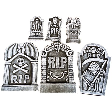6 Piece RIP Tombstone Kit 3 Small 3 Large Halloween Holiday Decoration Prop