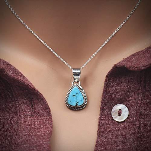 Artist Signed Nickel Free Authentic Navajo Native American USA Handmade Sterling Silver Genuine Kingman Turquoise Pendant