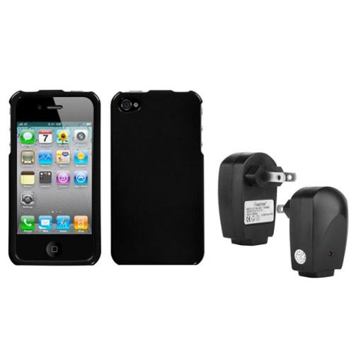 Insten Solid Black Case For iPhone 4 4S + USB Travel Charger Adapter
