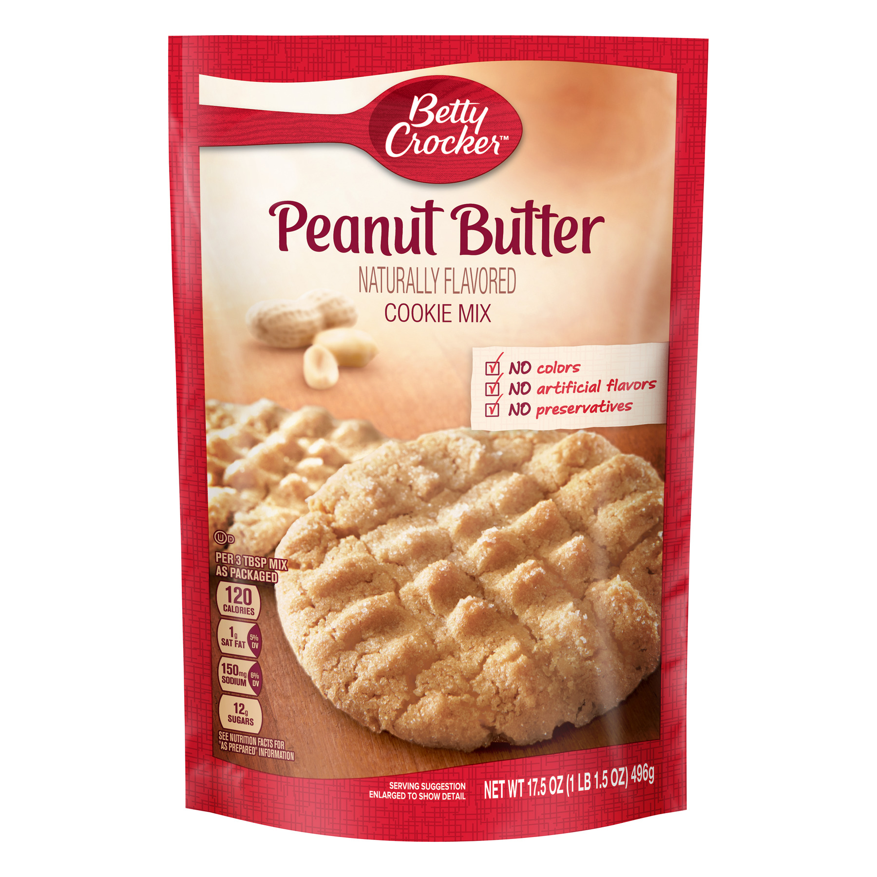 Betty Crocker Baking Mix, Peanut Butter Cookie Mix, 17.5 Oz Pouch