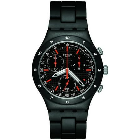 Swatch YCB4019AG Men's Black Coat Aluminum Bracelet Chronograph Watch